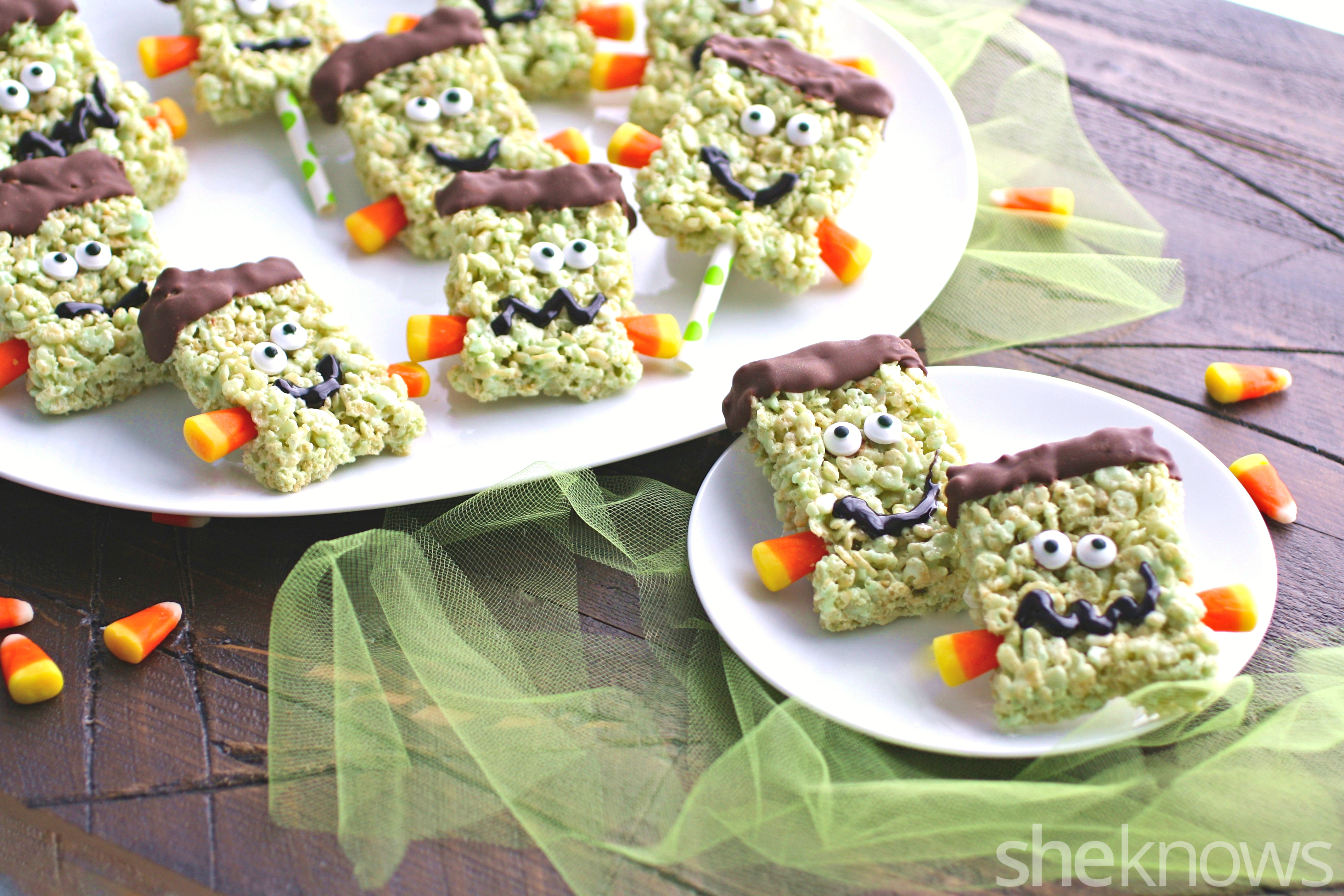 These marshmallow and crispy rice Frankenstein treats are so fun to make and to enjoy!