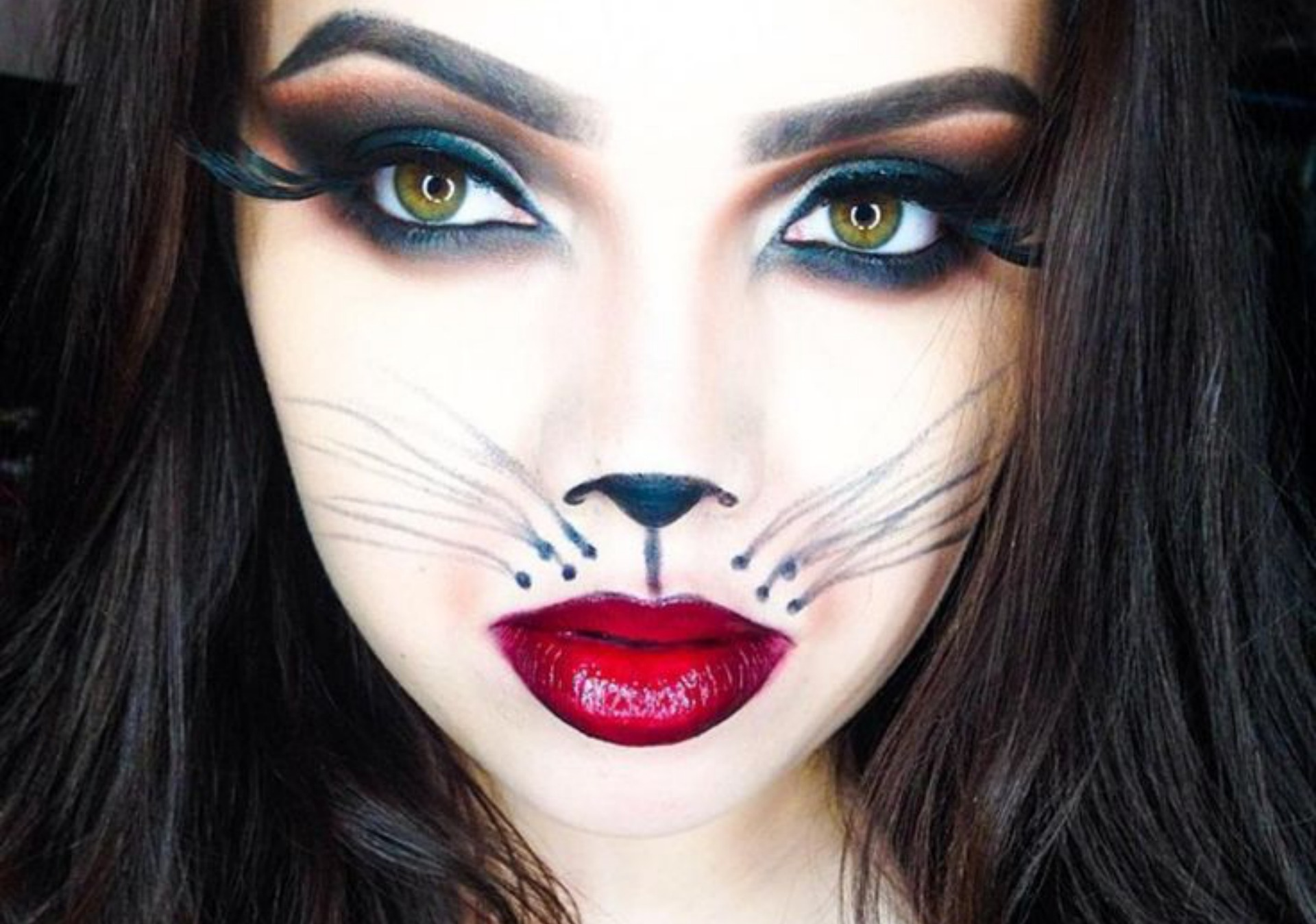 Sexy cat Halloween makeup for adults