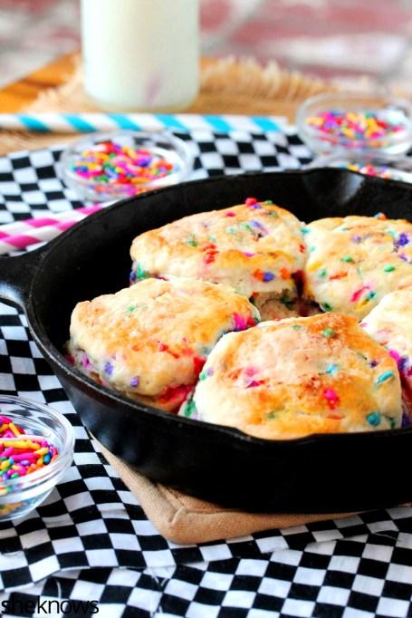 Glazed Funfetti skillet biscuits