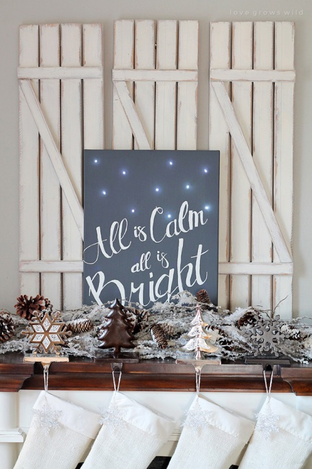 """""""All is calm"""" DIY decor for holiday fireplace"""