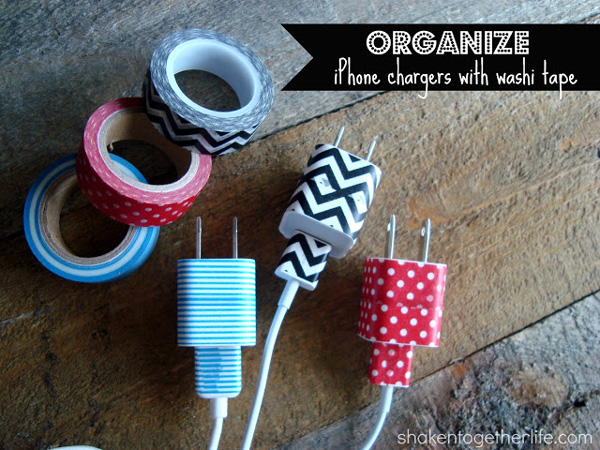Use pretty washi tape to easily identify different phone chargers in your house.