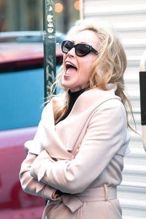 Sharon Stone on set