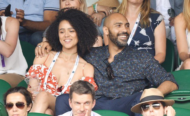Nathalie Emmanuel and Alex Lanipekun attend day four of the Wimbledon Tennis Championships