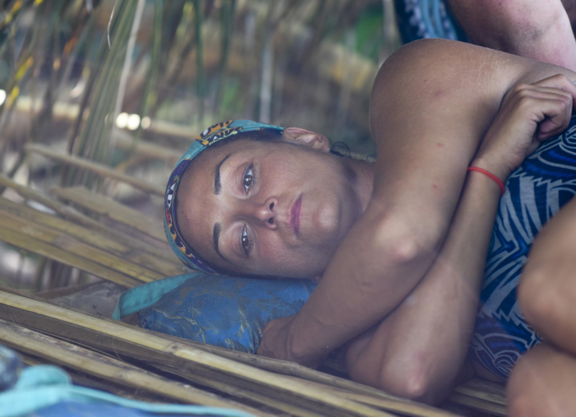 Shirin Oskooi lays at Ta Keo camp on Survivor: Second Chance