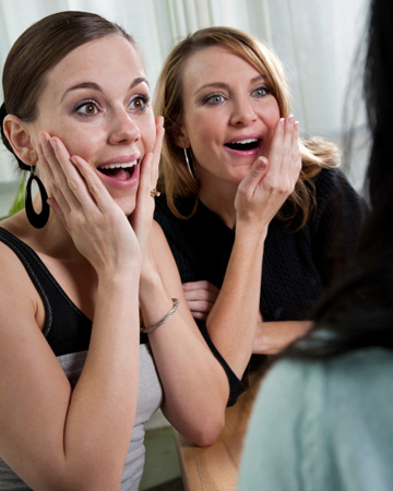 Shocked women at party