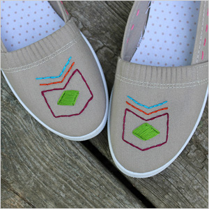 Embroidery floss shoes