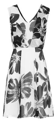 Alice Black/White Floral Printed Silk Dress