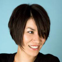 Woman with short angled bob hairstyle