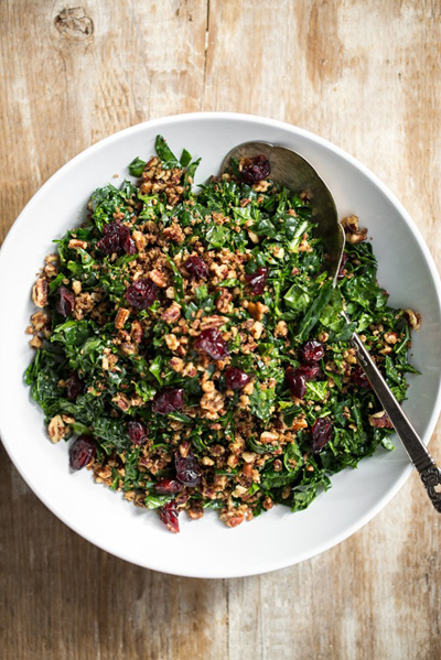 Shredded Kale Salad with Pecan Parmesan and Cranberries