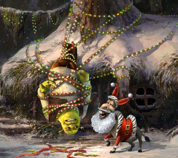 Shrek gets a little tied up over Christmas