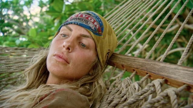Sierra Dawn-Thomas lays in hammock on Survivor: Game Changers