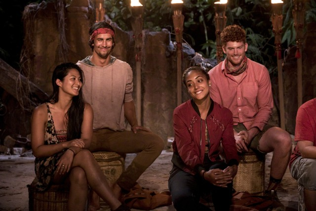 Simone Nguyen, Devon Pinto, Ali Elliott and Patrick Bolton at Tribal Council on Survivor: Heroes Vs. Healers Vs. Hustlers
