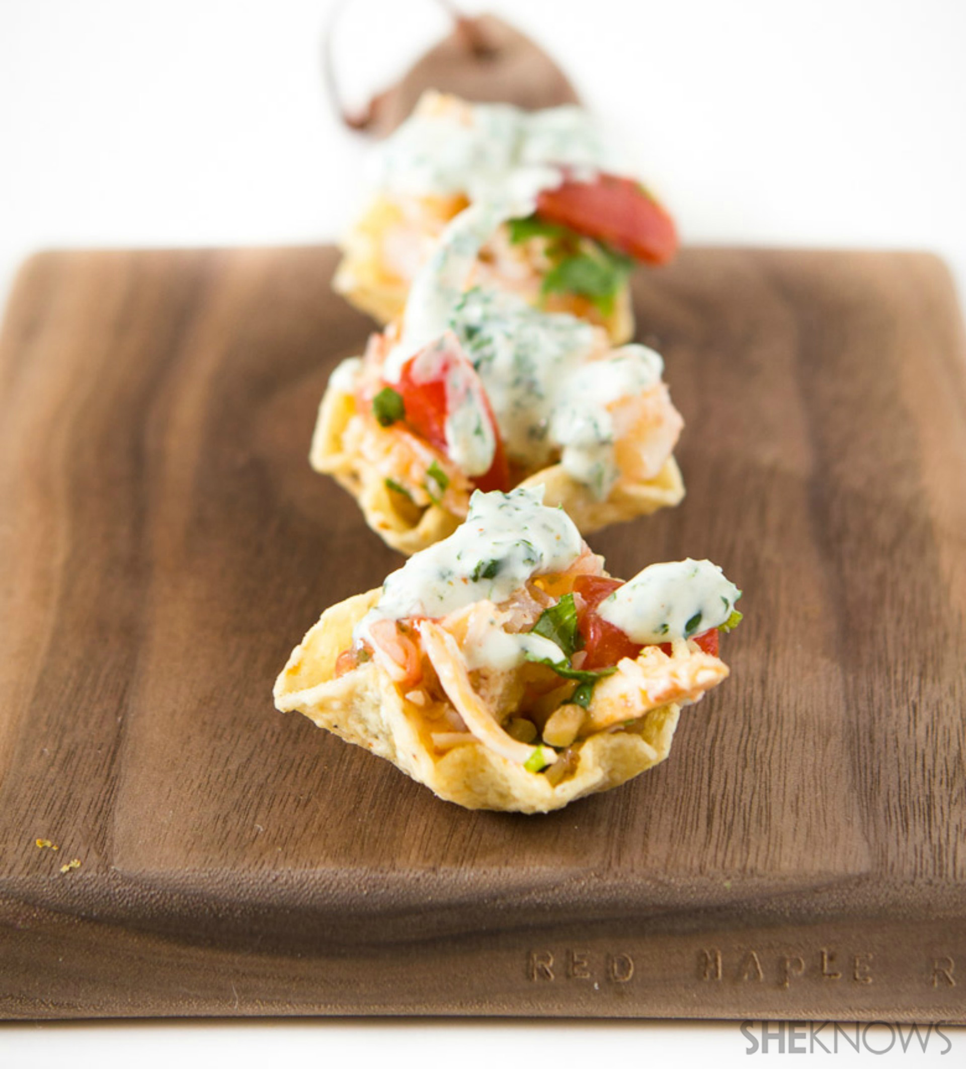 Shrimp and crab ceviche tostada bites