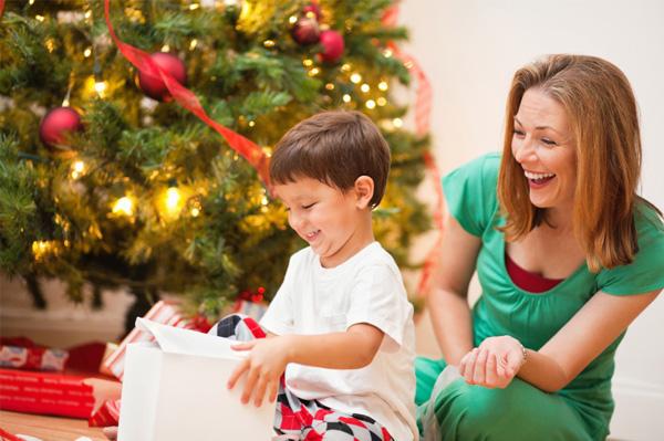 single mom having Christmas with son
