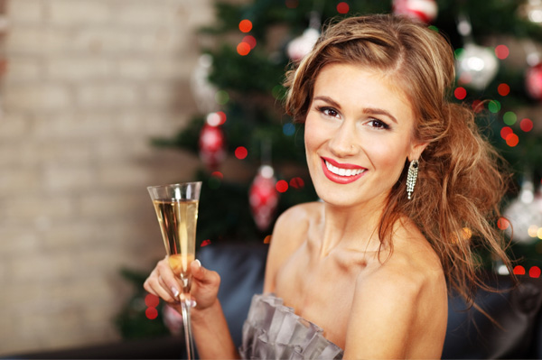 Woman at Christmas party