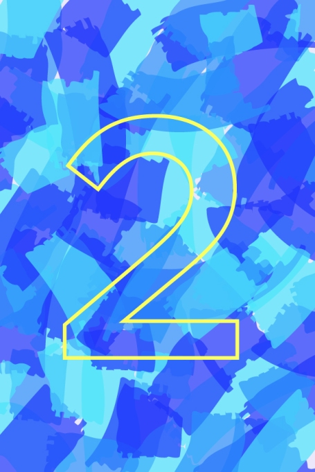 Outline of number 2 on blue background