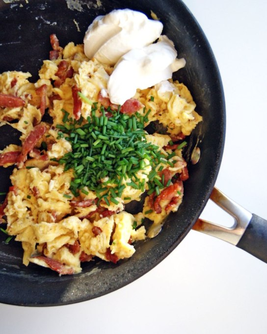 How Your Favorite Chefs Scramble Their Eggs: Anthony Bourdain adds bacon to his scrambled eggs