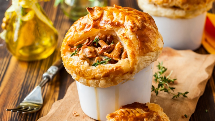 Individual Mushroom pot pie with puff