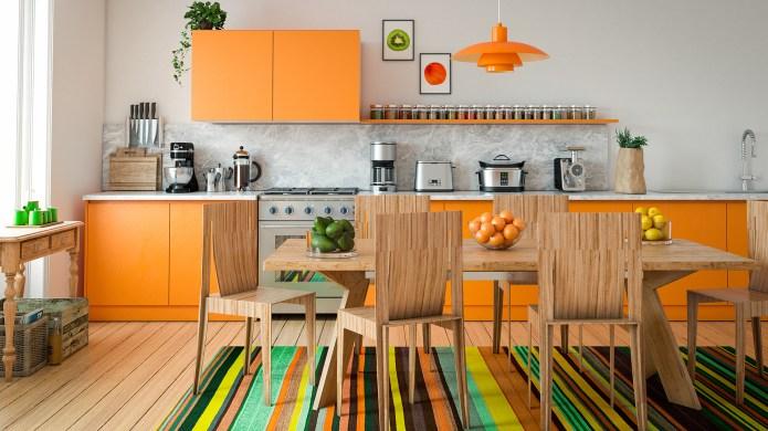 Digitally generated contemporary domestic kitchen interior