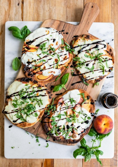 Grilled Peach Caprese Naan Pizza