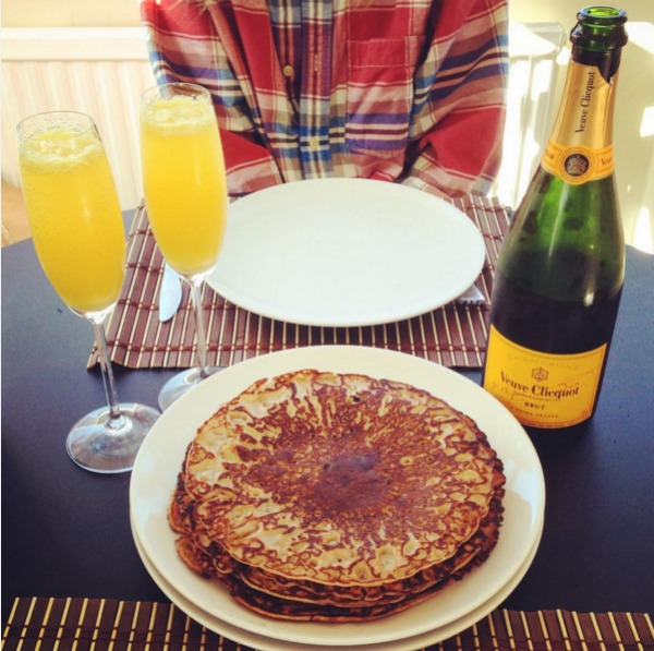 rum pancakes and champagne