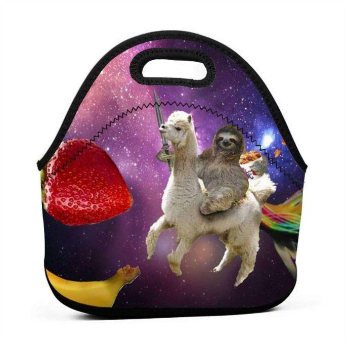 Sloth riding a llama lunch bag