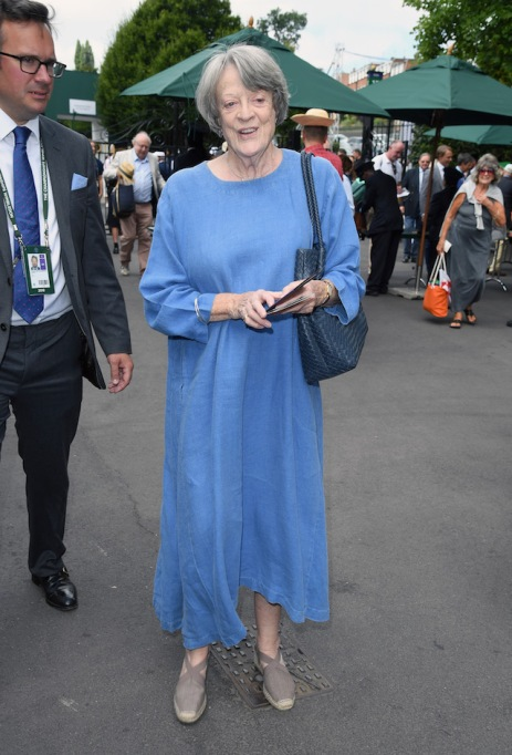 Dame Maggie Smith attends day nine of the Wimbledon Tennis Championships at the All England Lawn Tennis and Croquet Club