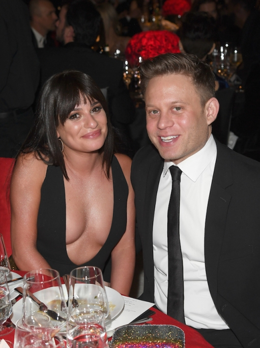 Lea Michele & Zandy Reich attends Elton John AIDS Foundation 26th Annual Academy Awards Viewing Party
