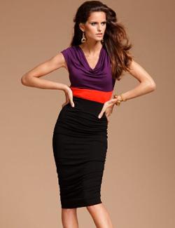 INC sleeveless cowlneck colorblock sheath dress