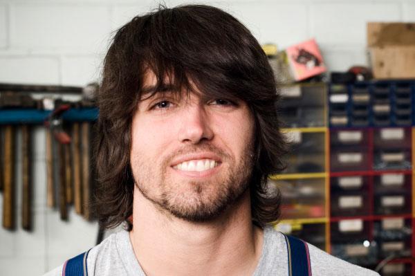 Smiling Boy in Garage
