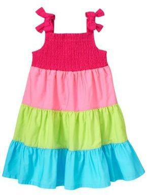 Smocked colorblock dress