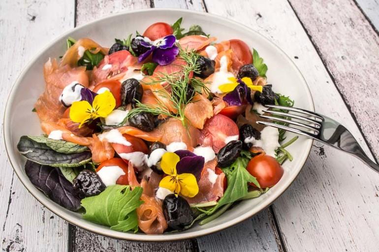 smoked salmon salad with flowers