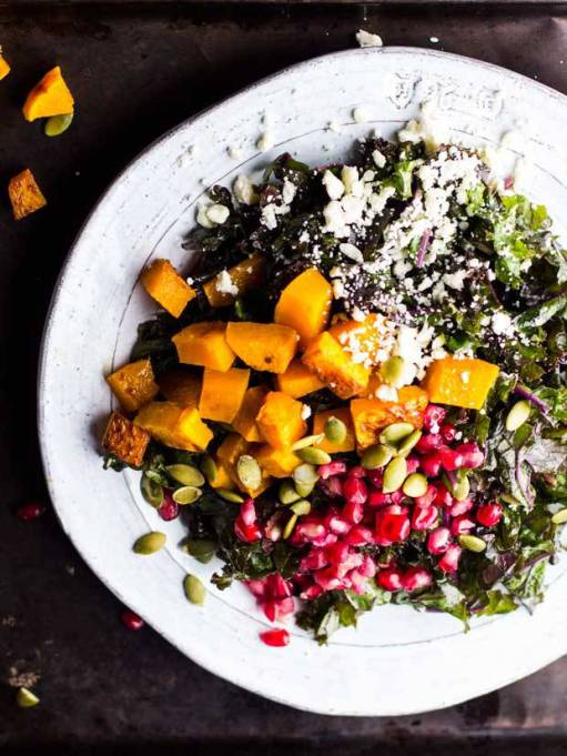 Yummy Winter Salads You'll Actually Crave   Harvest Kale Salad with Squash, Pomegranate, Feta, and Maple-Dijon Vinaigrette