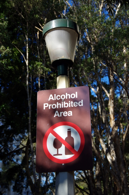 """""""Alcohol prohibited"""" sign in park"""