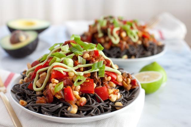 Black bean spaghetti makes a great base for Southwestern flavors