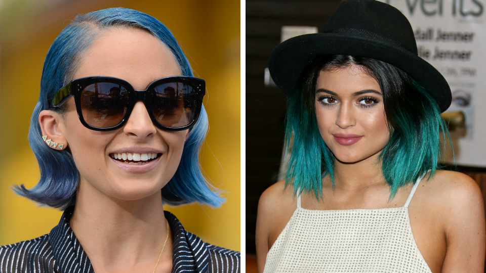 Nicole Richie and Kylie Jenner with blue hair