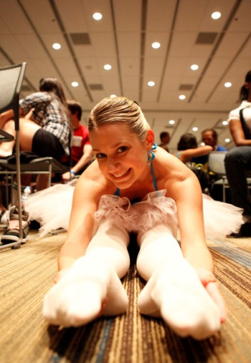 A dancer stretches as she readies for her So You Think You Can Dance audition