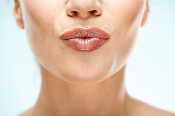 Woman with kissable lips
