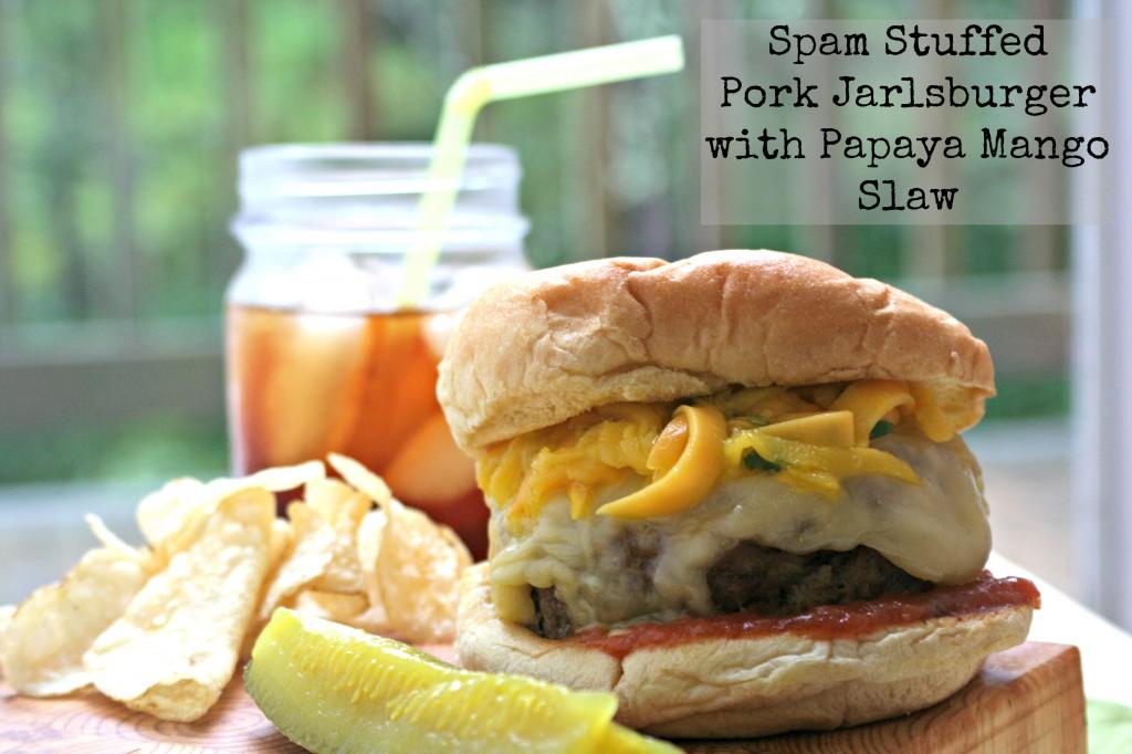 Spam stuffed cheeseburger