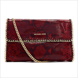Our pick: Red oversize Chelsea python-embossed clutch, $298, Michael Kors.