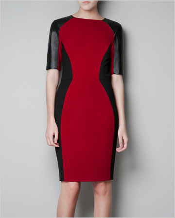 Our pick: Bodycon dress with leather details, $70, Zara.