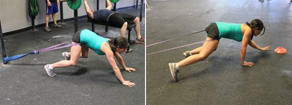 Band sprints (using a heavy-duty closed resistance rubber band)
