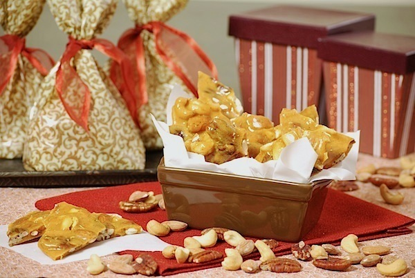 Spicy nut brittle party favors
