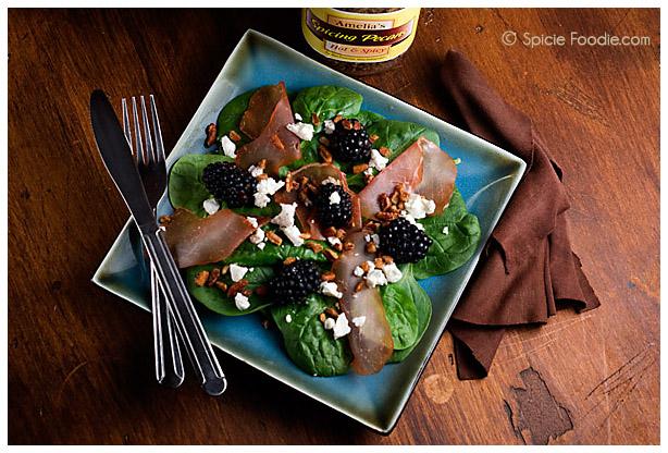 Spinach, blackberry and prosciutto salad