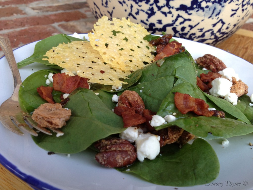 spinach salad with parmesan crisps and sugared pecans