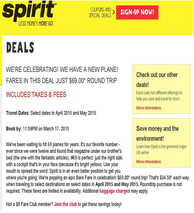 Spirit Airlines $69