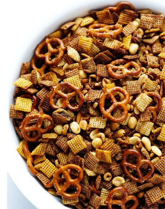 Healthy road trip snacks: addictive and easy to make Chex mix.