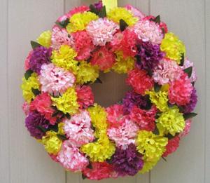 Spring carnation wreath