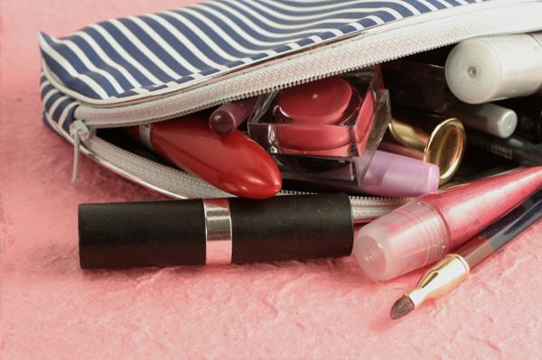 makeup bag full of makeup
