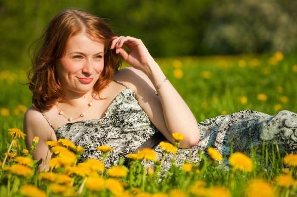 Spring fashion: Woman in a print dress